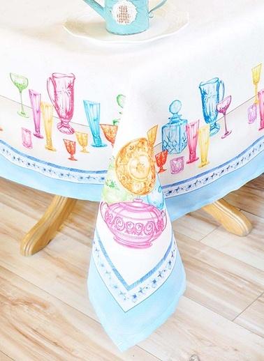Masa Örtüsü - Renkli Bardaklar 140 x 140 cm-The Mia